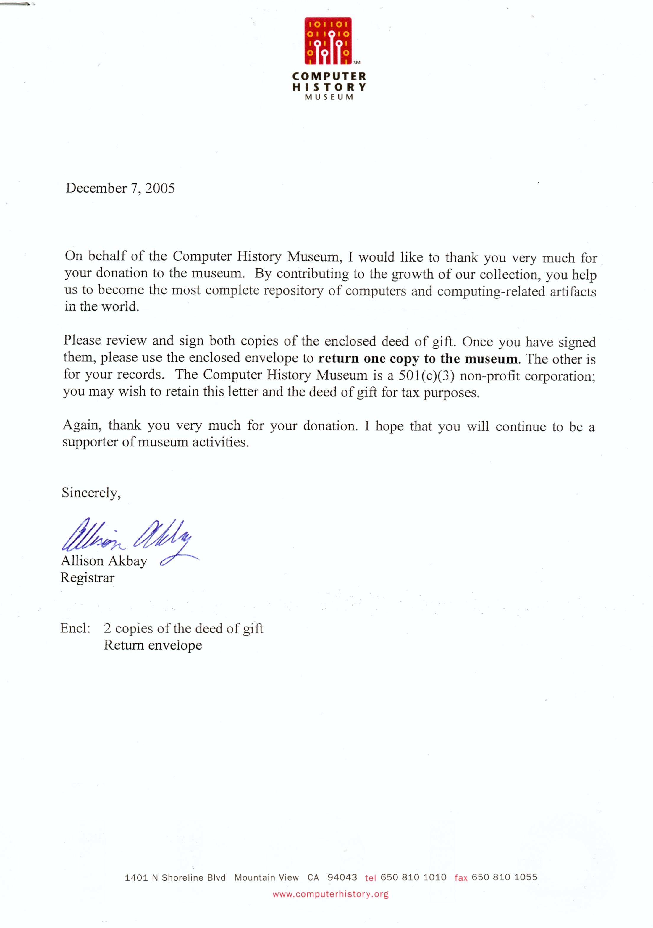 CHM Gift Letter