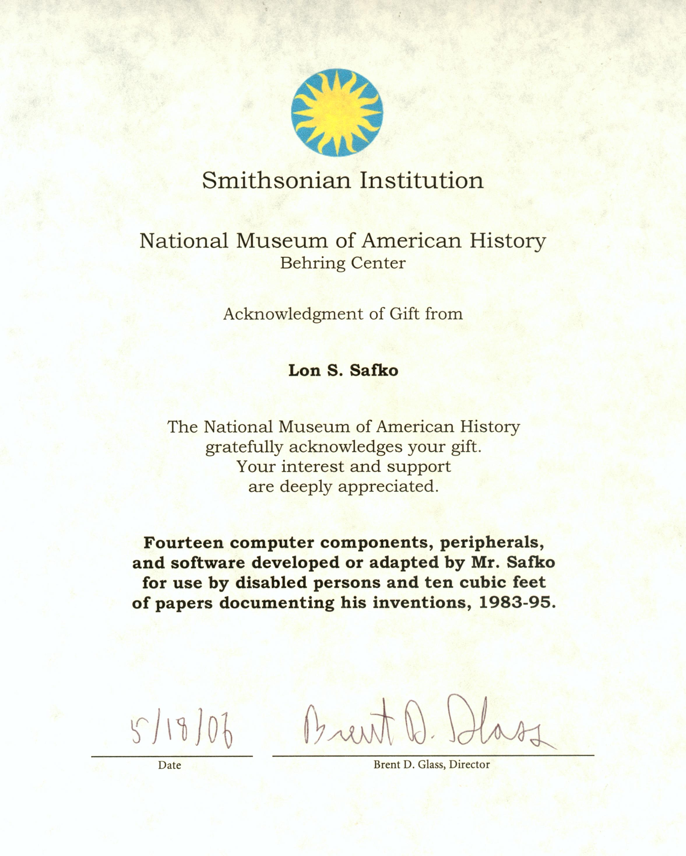 Smithsonian Certificate Of Gift Large